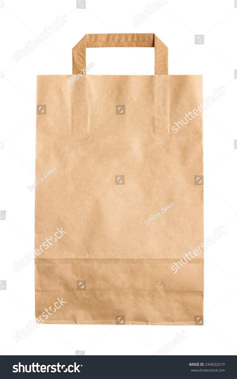 Folded Paper Bag - folded paper bag isolated on white stock photo 244032019