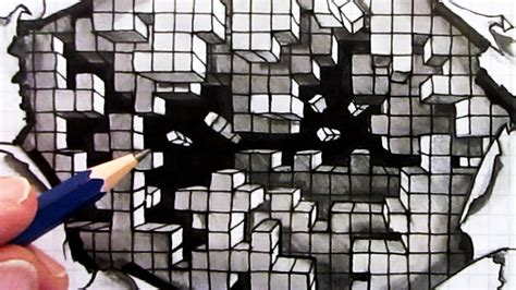 how to make 3d illusion l how to draw an optical illusion falling cubes 3d hole in