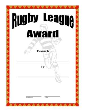 rugby league certificate templates certificate of achievement in rugby two certificate