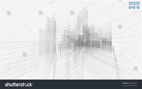 layout vector rendering perspective 3d render building wireframe vector stock