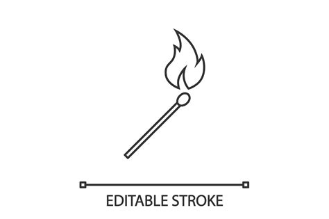 burning matchstick linear icon icon matchstick outline