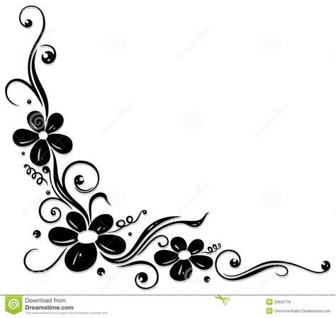 Blom  Ranka, Blommor, Svart Vektor Illustrationer