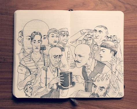 moleskine doodle ideas artist illustrates imaginative black and white moleskine