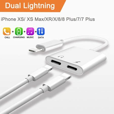 2 in 1 lightning splitter adapter for iphone xs xs max xr x 8 8 plus 7 7 plus compatible ios