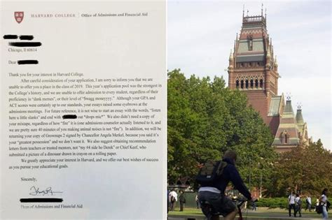 Harvard Decline Letter Mixtape Did Student Really Apply For Harvard By Sending 40 Minute Mixtape And Boasts Of Swagg Money