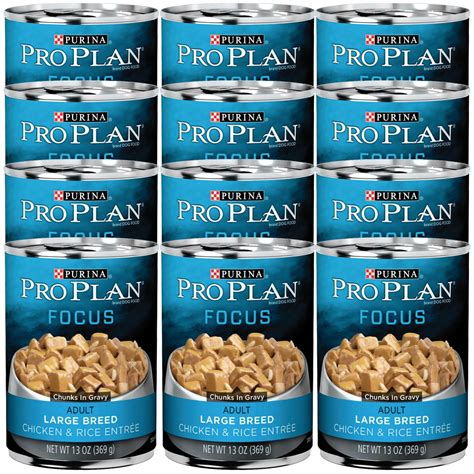 pro plan focus large breed puppy purina pro plan focus chicken rice entre canned large breed food 12x13oz