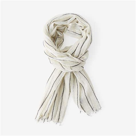 steven alan striped wool scarf in beige white blue stripe