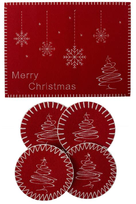 merry christmas festive xmas felt table linen 4 oblong