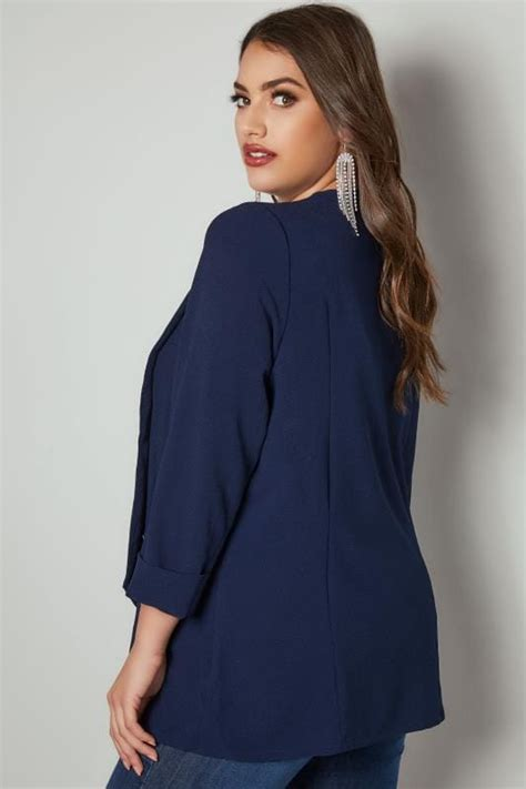 H M Blouse Hmb07 Crepe Tiny Floral Navy navy crepe blazer jacket with zip pockets plus size 16 to 36