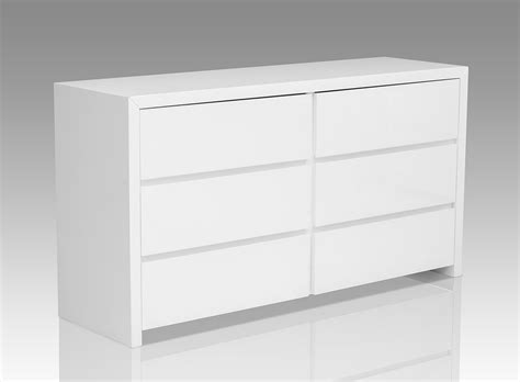 White Dresser Chest by Bonita Modern White High Gloss 6 Drawer Dresser Dressers