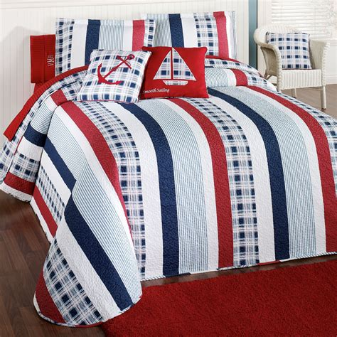nautical coverlet hatteras stripe nautical quilted oversized bedspread bedding