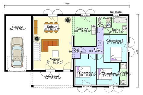 plan maison 4 chambres suite parentale plan de maison plain pied avec suite parentale mezzanine