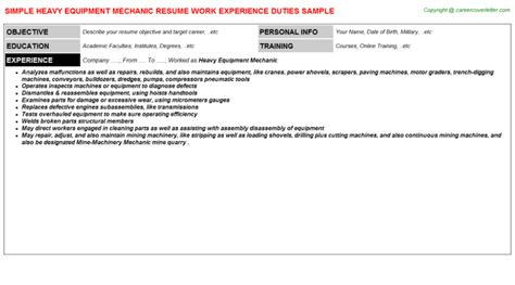 Heavy Duty Mechanic Resume Sample – Search Results for ?Mechanic Objective Resume Examples