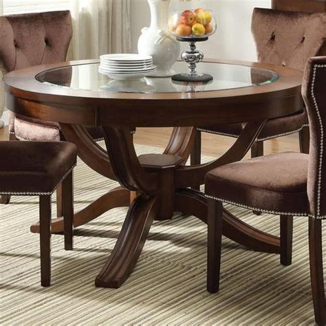 round formal dining room table acme furniture kingston round transitional formal dining table