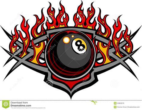 eight design billiards eight flaming design template stock vector