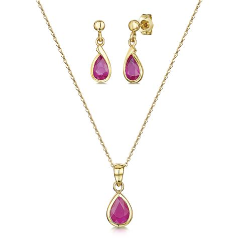 Ruby 18 18 Ct 9ct yellow gold ruby 18 chain pendant and drop