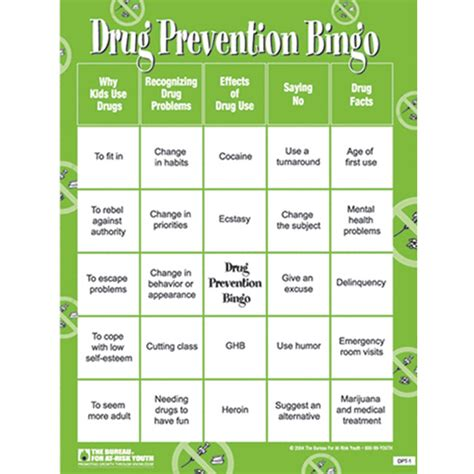 printable recovery games drug prevention bingo game recognizing drug problems