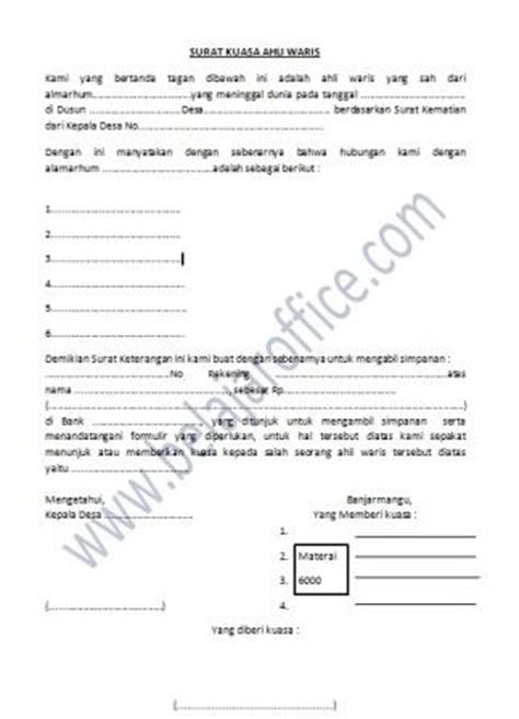 contoh surat kuasa ahli waris bank master linux