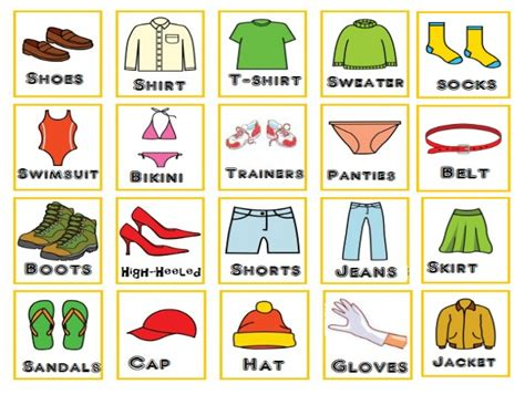 imagenes de ropa en ingles y español loteria prendas de ropa en ingles
