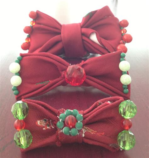 vintage christmas necktie hair bows for sale by xecax on