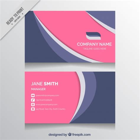 business card template wavy business card with wavy forms and pink details vector