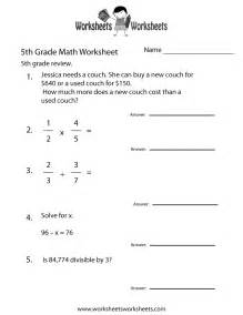 free printable fifth grade math practice worksheet