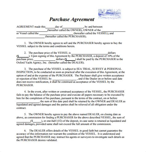 sle purchase agreements 9 boat purchase agreement templates sle templates
