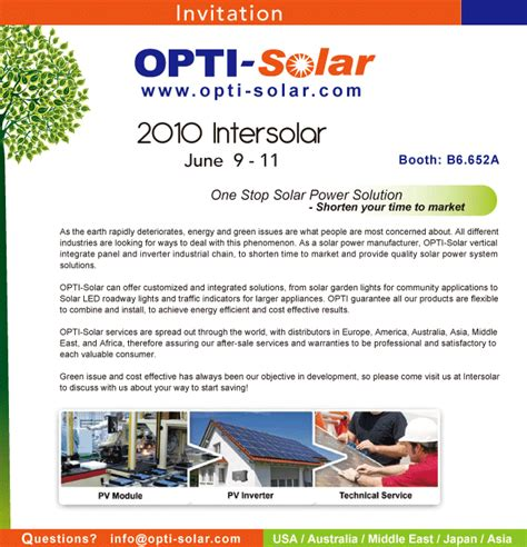 Invitation Letter Format For Trade Fair Opti Solar Exposition Ev 233 Nements 2010
