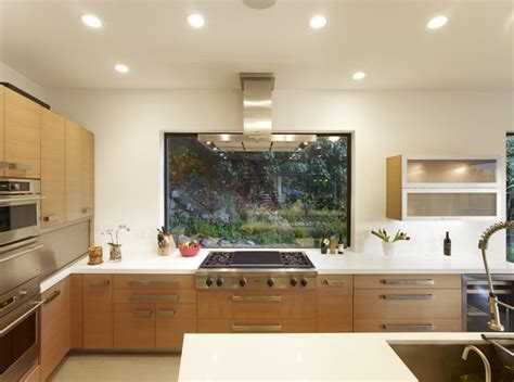 kitchen island with cooktop widaus mill valley contemporary kitchen with window at range