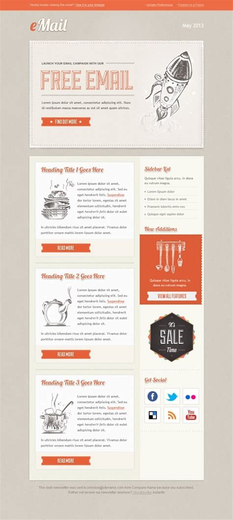 Vintage Email Template Free Mail Templates Free Email Newsletter Templates