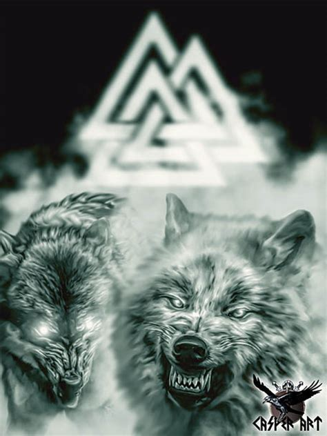 odin s wolves geri and freki by thecasperart on deviantart