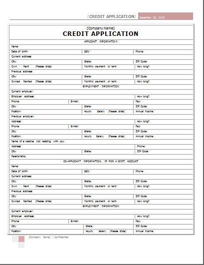 Generic Credit Application Form Word Word Credit Application Form Template Word Document Templates