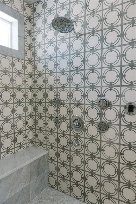 white and gray mosaic shower tiles with gray marble shower