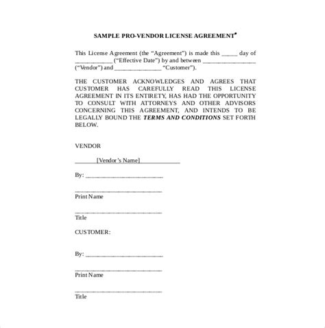 customer contract template 10 vendor agreement templates free sle exle