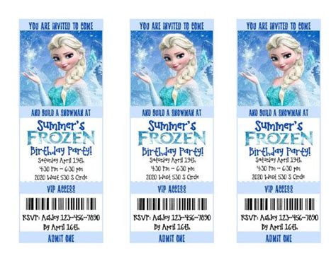 printable frozen movie ticket invitations 37 best frozen themed birthday party images on pinterest