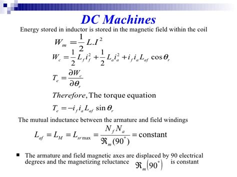 energy formula in inductor dcmachine