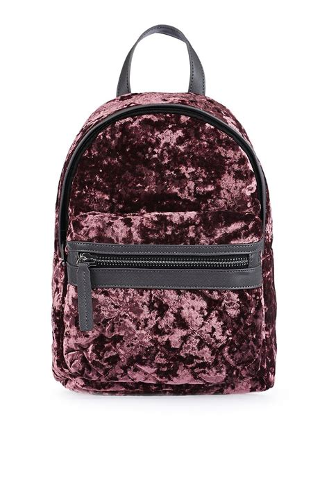 mini velvet backpack topshop
