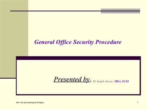 Procedure Of Mba After M by General Security Order For Office Or Facilities