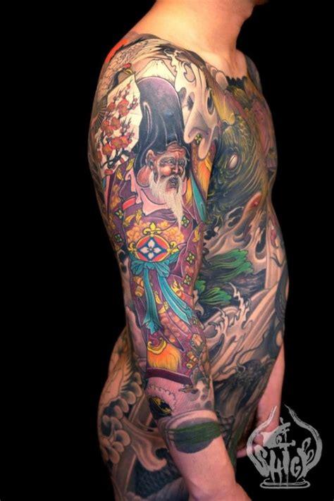 男士上身满身彩色寿星纹身花臂图案