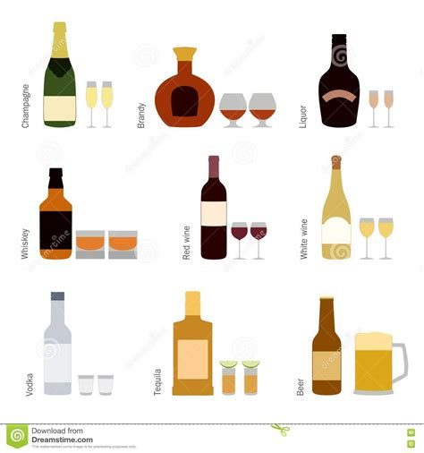 alcohol vector beer wine and liquor bottles in vector vector