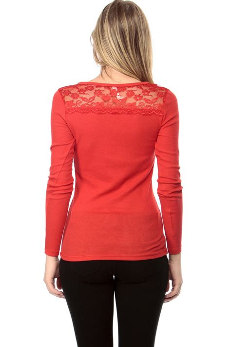 Blouse V Neck Cl Blouse Wanita Spandex Merah Shopalovers lace thermal sleeve top cicihot top shirt clothing store dress shirt