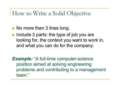 what to write as an objective on a resume objective career summary