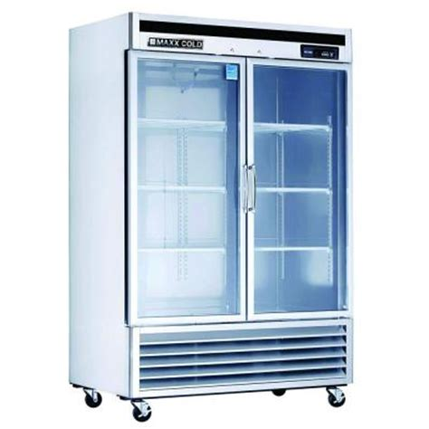 Home Glass Door Refrigerator Maxx Cold 49 Cu Ft Glass Doors Commercial Refrigerator In Stainless Steel Mcr 49gd