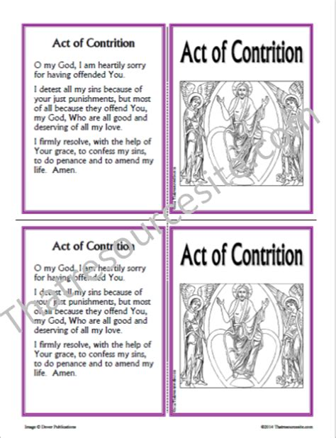 Act Of Contrition Worksheet by That Resource Site