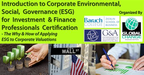 Baruch Mba Sustainable Business by The Why And How Of Applying Esg To Corporate Valuations