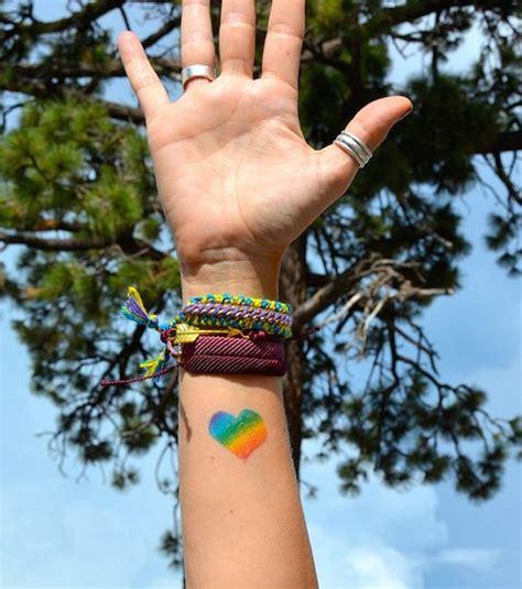 rainbow heart tattoo rainbow set of 2 temporary tattoos lgbt