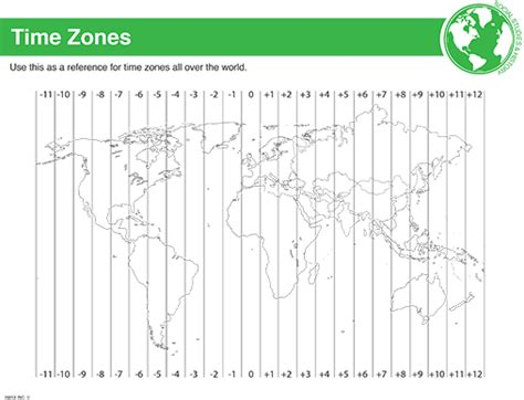 Printable Time Zone Sheet | printable classroom learning tools black decker laminating