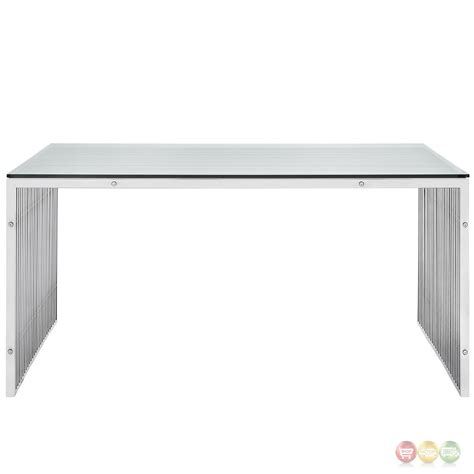 Stainless Steel Dining Table Glass Top Gridiron Modernistic Stainless Steel Solid Frame Dining Table With Glass Top Silver