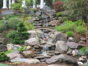 backyard waterfall pond and garden in connecticut by