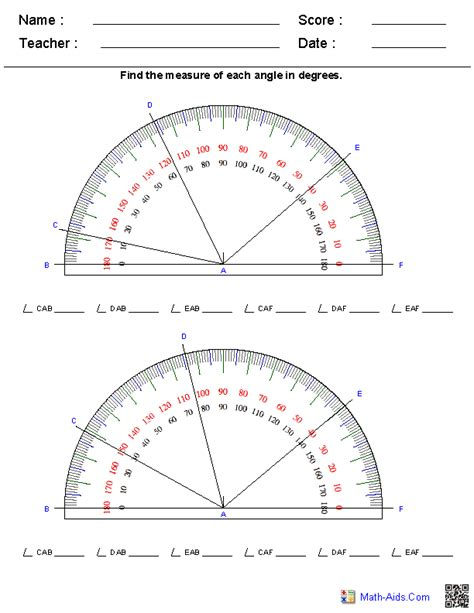 Reading Protractor Worksheet Answers